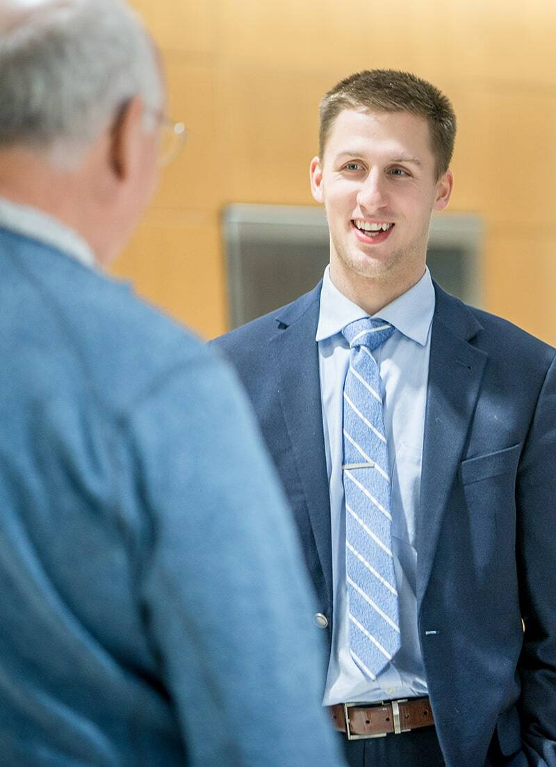Talking over options with a healthcare retiree