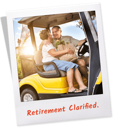 Polaroid photo of retired couple in golf cart.